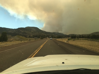 Lava Mountain fire encroaching on Hat Butte