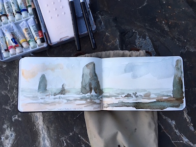 a little watercolor sketch at Cannon Beach