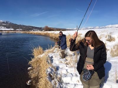 newlyweds winter fly fishing