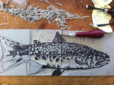 Trout Linoleum print
