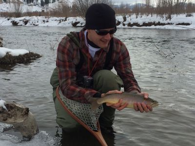 Jeremy showing off winter trout