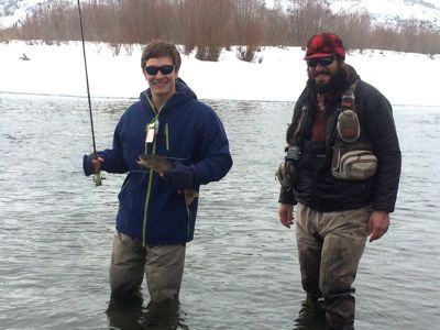 winter fly fishing on the snake river, jackson hole   wyoming